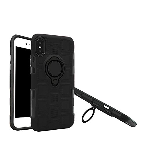 BLUESSENCE Dual Armor Rugged Phone Case for Apple iPhone X Cover NEW Hybrid Heavy Duty Finger Ring Stand Protective Phone Shell for iPhone X /10 2017 Shockproof (Black) ()