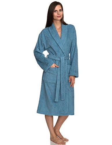 TowelSelections Women's Robe, Turkish Cotton Terry Shawl Bathrobe X-Large/XX-Large Niagara Blue