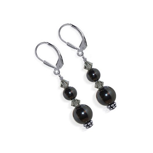 Gem Avenue 925 Sterling Silver Simulated Hematite Made with Swarovski Elements Black Diamond Color Crystal Leverback Drop Earrings