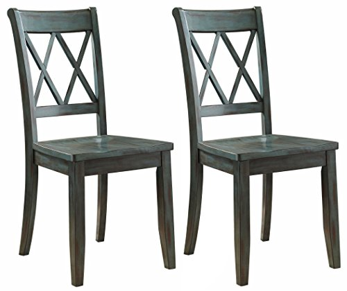 Ashley Furniture Signature Design - Mestler Dining Room Side Chair - Wood Seat - Set of 2 - Blue/Green - SET OF 2  VINTAGE INSPIRED DINING ROOM CHAIRS: Classic open double X back dining chairs are both rustic and modern, and ideal for the kitchen, dining room or breakfast room UNIQUELY CRAFTED: Sturdy wood frames DISTINCTIVE GREEN BLUE HUE: Enjoy the unique time worn antique blue green patina finish - kitchen-dining-room-furniture, kitchen-dining-room, kitchen-dining-room-chairs - 41xTAWF5hmL -