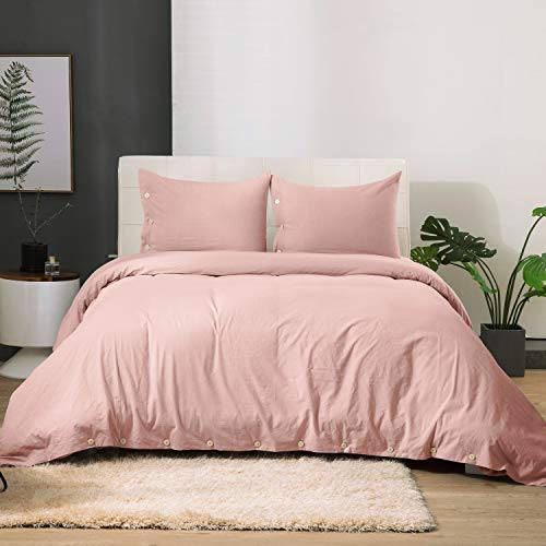 Bedsure 100% Washed Cotton Duvet Cover Sets Queen Full Size Indy Pink Bedding Set 3 Pieces (1 Duvet Cover + 2 Pillow Shams)