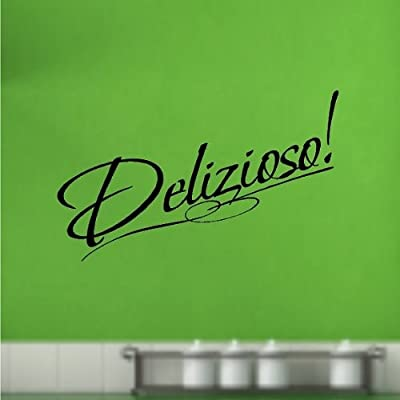 "Delizioso!.....Italian Kitchen Wall Quote Words Sayings Removable Lettering 6"" X 20"", Black"