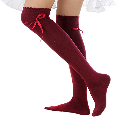 Women's Thigh High Socks Lolita Gothic Over Knee Stocking Lace Up Thigh Stockings PTK12 (Burgundy)