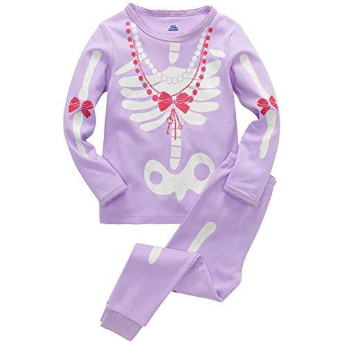 B.GKAKA Big Girls Halloween Pajamas Costume Glow-in-The-Dark Skeleton 2 Piece -