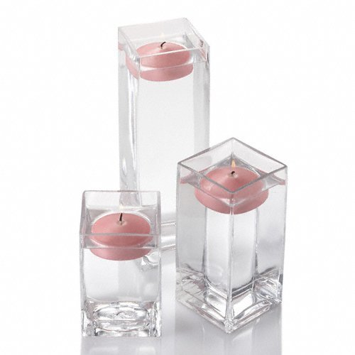 Set of 18 Eastland Square Vases and 18 Pink Richland Floating Candles 3'' by Richland (Image #3)