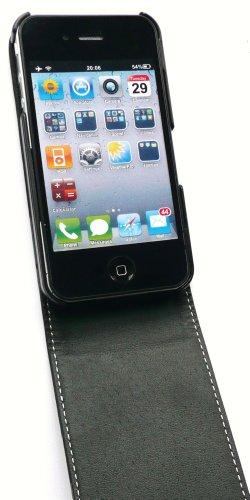 Emartbuy Value Pack Für Apple Iphone 4 4G Hd Premium Floral Schwarze Flip Case / Cover / Tasche + Kompatibel Kfz-Ladegerät + Lcd Displayschutz