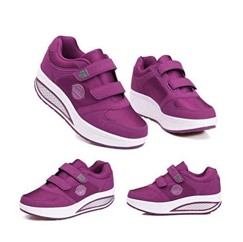 Violet Femmes Baskets Décontractée De Chaussures Sport Marche Mode Compensées Mogeek Sneaker HUqwvA
