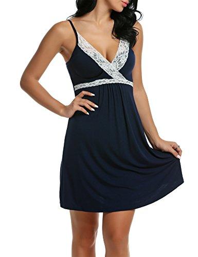 Marino Tipo1 Blu Scollo Camicia Sottili Vestaglia Donna V Spalline Notte Pigiama HOTOUCH da nvx7PwXX