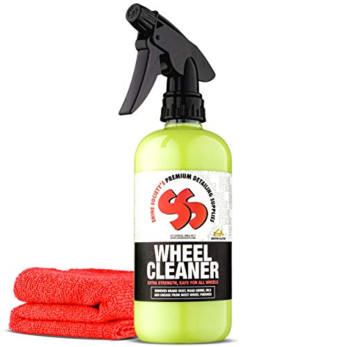 Shine Society Wheel Cleaner, Heavy Duty Strength for Removing Tough Brake Dust and Road Grime from Chrome, Alloy, and Painted Wheels with Microfiber Towel Included (18oz with Towel) (Best Aluminum Wheel Cleaner)
