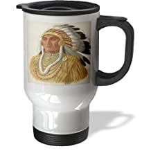 3dRose tm_163753_1 Image of Artist Portrait of Native American Chief Travel Mug, 14-Ounce, Stainless Steel