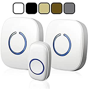 SadoTech Model CXR Wireless Doorbell with 1 Remote Button and 2 Plugin Receivers Operating at over 500-feet Range with Over 50 Chimes, No Batteries Required for Receivers, (White)