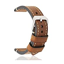 omyzam Leather Watch Band Watch Strap Small Stainless Steel Buckle Brown 20mm