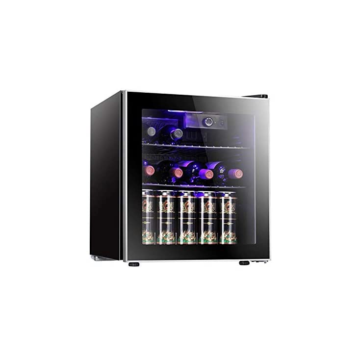 Antarctic Star 26 Bottle Freestanding Wine Cooler with Compressor,Red And White Wine Cellar with Touch Panel Adjustable Thermostat, Quiet Operation Wine and Beer Cooler
