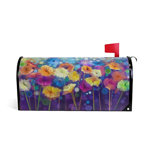 (WOOR Seasonal Nature Spring Summer Autumn Winter Flowers Rainbow Magnetic Mailbox Cover Oversized-20.8