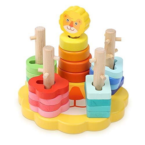 Boxiki kids Colored Stacking Toys | Wooden Stacking Toys | Stacking Blocks | Learning Toys For Toddlers | Shapes For…