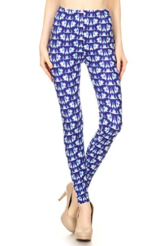 Leggings Mania Women's Plus Abstract Floral Print High Waist Leggings Blue White, Plus One Size Fits Most (12-22), Abstract Floral