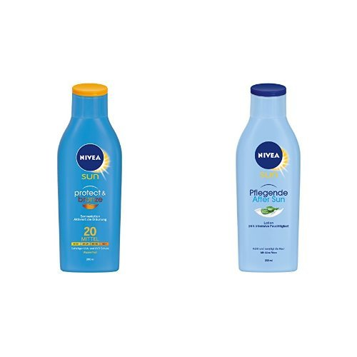 Nivea Sun Protect & Bronze Lotion LSF 20, Sonnenschutz, 1er Pack (1 x 200 ml) + Pflegende After Sun Lotion, 2er Pack (2 x 250 ml)