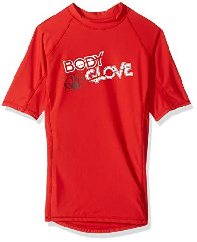 Body Glove s/a Fitted Boys Basic Rashguards, Red, 10