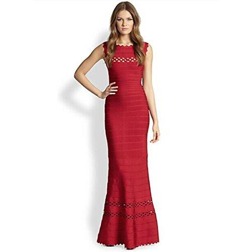 Vestido Sin Rojo mangas HLBCBG para mujer TpaqTdw