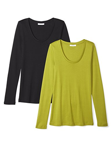 Daily Ritual Womens Midweight 100% Supima Cotton Rib Knit Long-Sleeve Scoop Neck T-Shirt, 2-Pack
