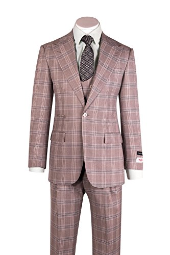 Luca Toupe/Beige Windowpane Wide Leg Pure Wool Suit & Vest by Tiglio Rosso V98878F/375/4