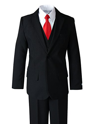 Big Suits (Spring Notion Big Boys' Modern Fit Dress Suit Set 16 Black w/ True Red Tie)