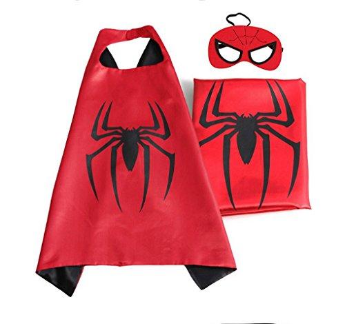 [Rush Dance Deluxe Comics Satin Unisex Super Hero CAPE & Matching MASK (Red & Black (Spider Baby))] (Car Costume Spider)