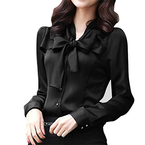 41c50c3392b Cekaso Women s Chiffon Blouse Bow Tie V Neck Slim Fit Solid Long Sleeve  Blouse
