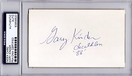 Gary Kinder Autographed Signed Track and Field 3x5 Inch Index Card with 1988 Decathlon Inscription - PSA/DNA Authenticity (COA) - PSA Slabbed Holder from Sports Collectibles Online