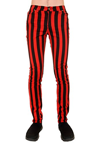 Mens Indie Vintage Retro 60s 70s MOD Black Red Striped Stretch Skinny - Indie Fashion Mens