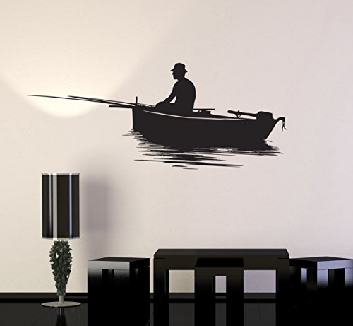 Vinyl Decal Wall Sticker Fish Relaxing Lake Fishing Garage Man Cave Decor (z1278) S 10 in X 22.5 in (Fishing Wall Decals)