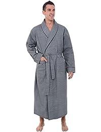 Mens Solid Cotton Robe, Lightweight Woven Bathrobe