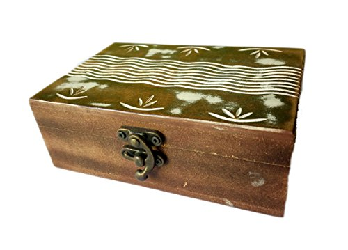 Drawer Armoire Deck (Antique Handmade Wooden Urn Leaves FLower Border Engraving Handcarved Jewellery Box for Women-Men Jewel | Home Decor Accents | Decorative Urns | Storage & Organiser)