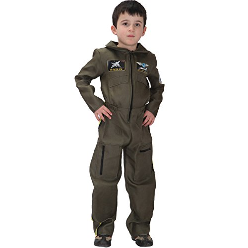 70's Costume Ideas For Boys (Kid's Halloween Pilot Astronaut Navy Special Soldier Cosplay Dress Up Costume Suit Uniform (X-Large, Air force uniform))