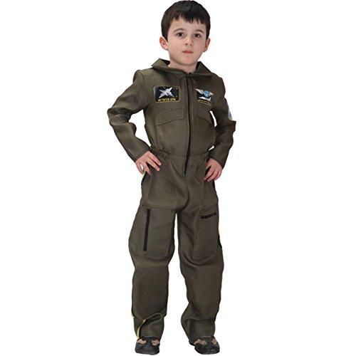 Navy Pilot Uniform Costume (Kid's Halloween Pilot Astronaut Navy Special Soldier Cosplay Dress Up Costume Suit Uniform (Medium, Air force uniform))