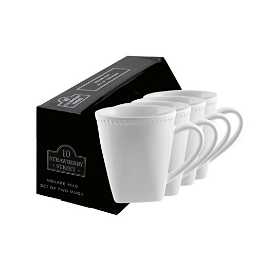 10 Strawberry Street Beaded Square 12 Oz Mug, Set of 4, (Beaded Mug)