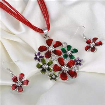 (Fashionable Silver Flower Pendant, Necklace, Earrings Jewelry Sets | Multilayer Leather Chiffon Ribbon Choker, Neckalce Jewelry Sets (6 Colors))