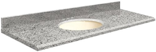 (Samson G6122-F4-E-W-8 Granite Vanity Top 61x22 with Single Undermount White Bowl 8-Inch Beveled Edge Rosselin White)