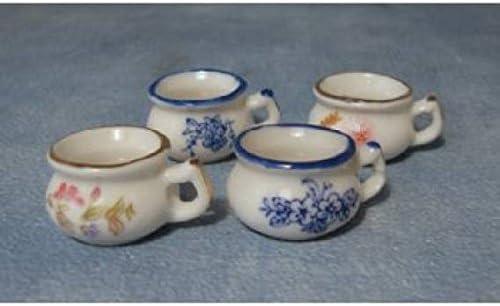 4Pcs Dollhouse 1:12 Miniature Flower Handmade White Porcelain Pot Garden
