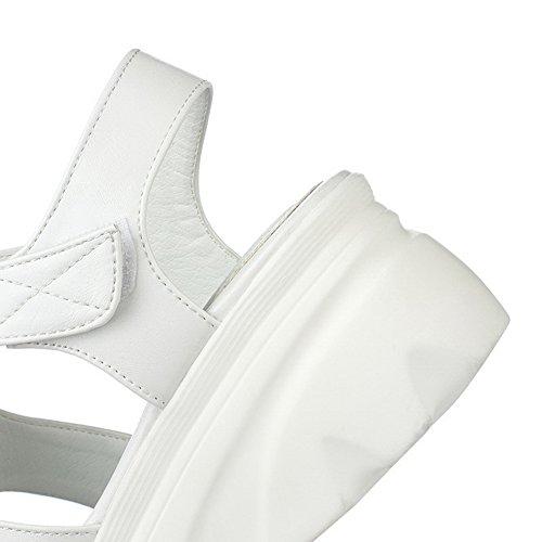 AgooLar Mujeres Plataforma Material Suave Colores Surtidos Velcro Puntera Abierta Sandalia Blanco