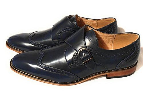 UV021 Men's Navy Blue Monk Strap Wing Tip Dress Shoes (10.5 Mens US)
