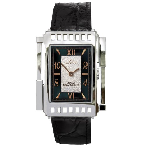 Xezo-Unisex-Architect-Swiss-Watch-Natural-Black-Mother-of-Pearl-5ATM-WR-Classic-Vintage-Style