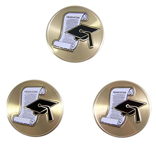 (Gold Toned and Enameled Graduation Gap and Diploma Auto Decal Emblem, 2 Inch, Pack of)
