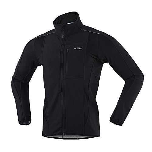 ARSUXEO Winter Warm UP Thermal Softshell Cycling Jacket Windproof Waterproof Bicycle MTB Mountain Bike Clothes 15-K Black Size - Bike Apparel
