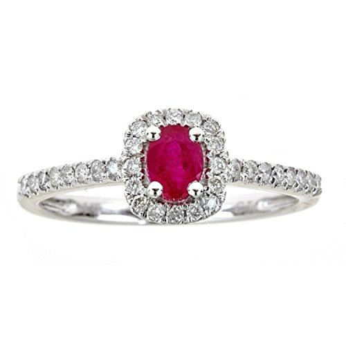 Gin and Grace 14k White Gold 1/4ct TDW Diamond and Ruby Ring (G-H, I1-I2) (Size 7)