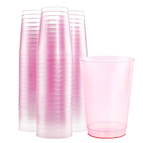 BUCLA 100pcs 12OZ Pink Plastic Cups-Disposable Plastic Cups-Premium Unbreakable Wedding Cups-Party Cups,Great For Bridal Shower, Mother's Day