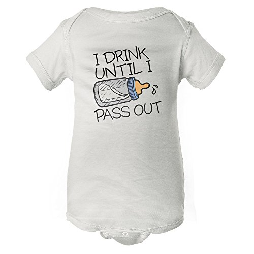 Graphic Onesie - InkThread Drink & Pass Out - Funny Baby Onesie Pajamas w/Sleeves