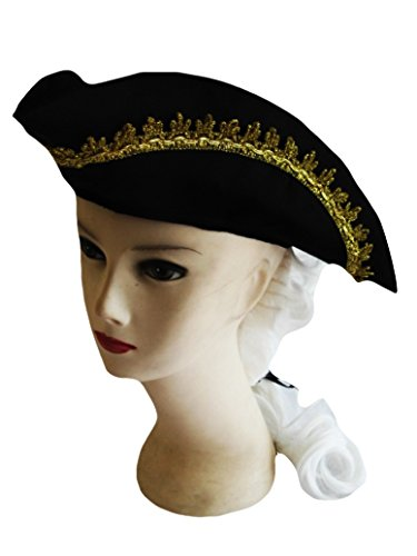 Colonial Boy Wig (Forum Novelties Child Size American Colonial Black Costume Hat with White Wig and Feather)