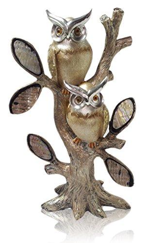 Golden Owl Tree Gold Plated Heart Christmas Velantine Love Romantic Gift Resin Figurine Home Decorative Accessories Home Decor Figure (Gift Velantine)