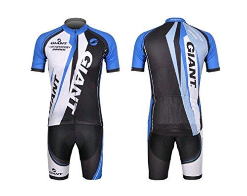 キュービック嘆願ポジティブサイクルウェア ジャージ 自転車ウェア サイクリングウェア ブルー 上下セット 半袖 Lサイズ